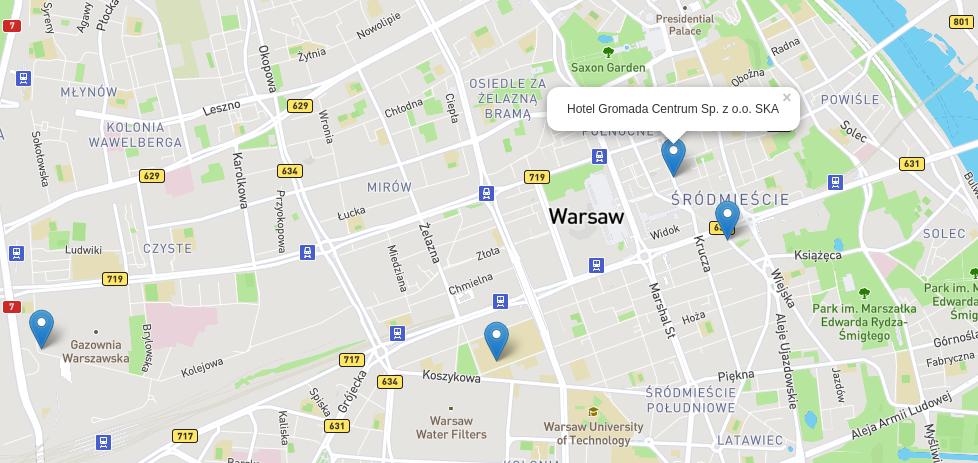 Map: Open Street Map, Leaflet overlays, Mapbox costum map.